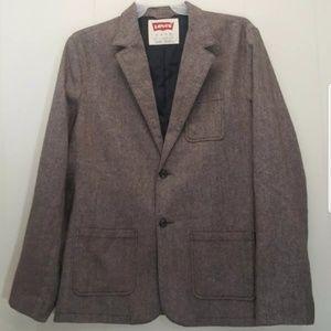 Levis Tweed Blazer Jacket XL Brown 2 Button Preppy